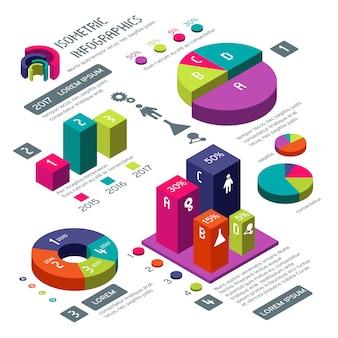 Infográfico de vetor isométrica negócios 3d com diagramas de cores e gráficos