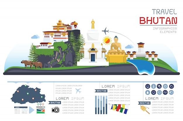 Infográfico de viagens e design de modelo de marco histórico do butão.