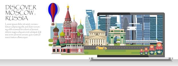 Infográfico de viagens. infográfico de moscou; bem-vindo à russia.