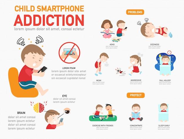 Infográfico de vício de smartphone criança