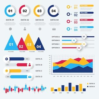 Infográfico de visualização de dados de sequência de design plano