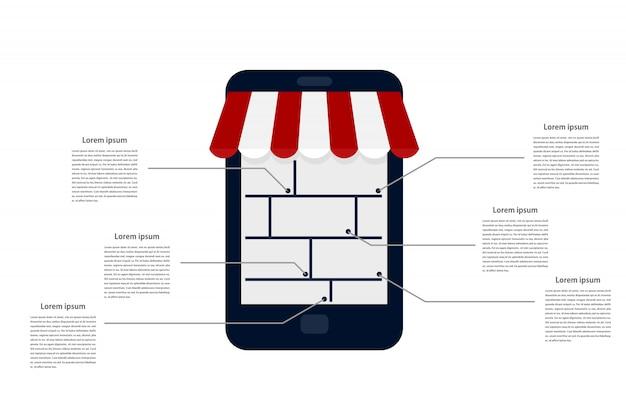 Infográfico de vitrine de loja de internet