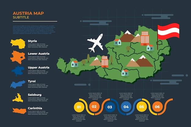 Infográfico desenhado à mão do mapa da áustria