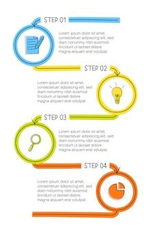 Infográfico desenhado de mão vertical com 4 opções coloridas