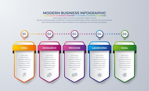 Infográfico design com 5 processo ou etapas.
