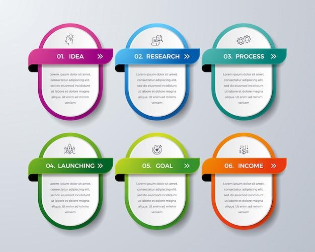 Infográfico design com 6 processo ou etapas.