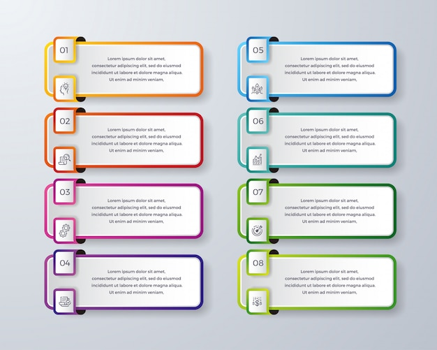 Infográfico design com 8 processo ou etapas.