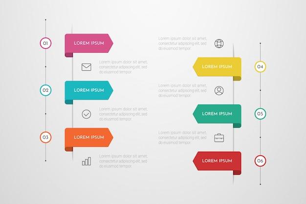Infográfico design com ícones e seis opções ou etapas. pode ser usado para banner de apresentações, layout de fluxo de trabalho, diagrama de processos, fluxograma