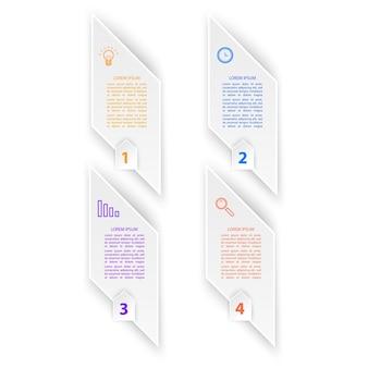 Infográfico design de modelo de etiqueta em 3d conceito de negócio infográfico com número 4 opções