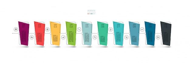 Infográfico design moderno de 10 etapas.