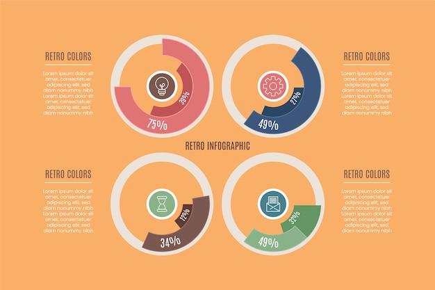 Infográfico design plano com cores retrô