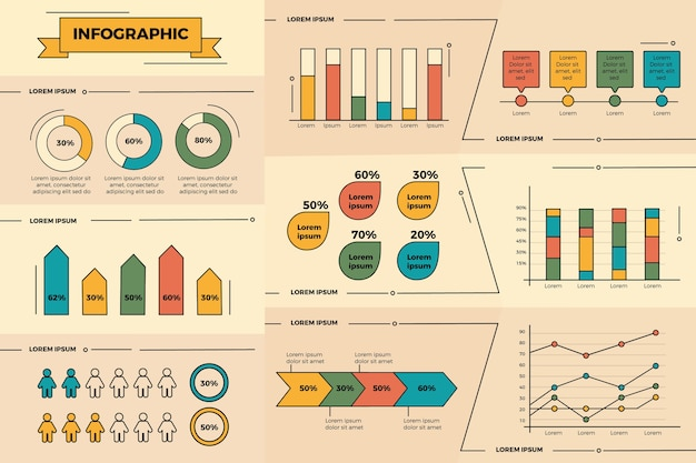 Infográfico design plano com cores vintage