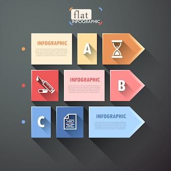 Infográfico design plano com quadrados, setas e ícones