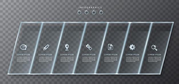 Infográfico design ui template rótulos e ícones de vidro transparente. ideal para layout de fluxo de trabalho de banner de apresentação de conceito de negócio e diagrama de processo.