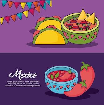 Infográfico do conceito de comida mexicana