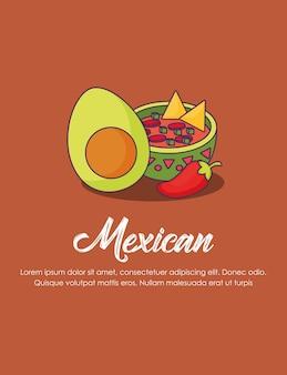 Infográfico do conceito de méxico com tigela de molho mexicano e abacate sobre fundo marrom, d colorido