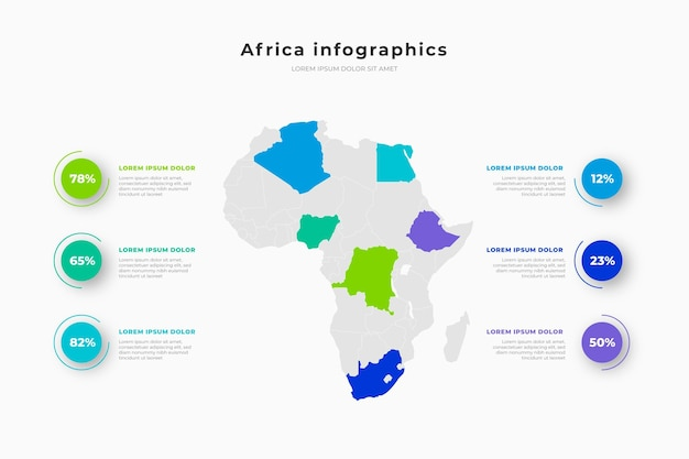 Infográfico do mapa da áfrica