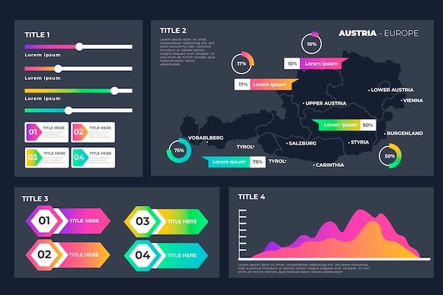 Infográfico do mapa da áustria de gradiente