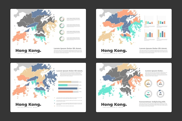 Infográfico do mapa de hong kong
