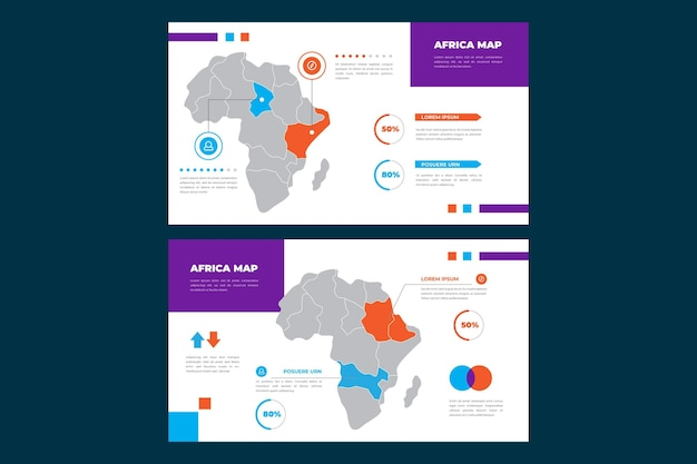 Infográfico do mapa linear da áfrica