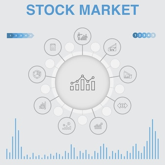 Infográfico do mercado de ações com ícones. contém ícones como corretor, finanças, gráfico, participação de mercado