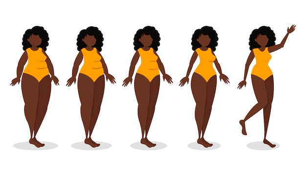 Infográfico do processo de emagrecimento. mulher em dieta perde