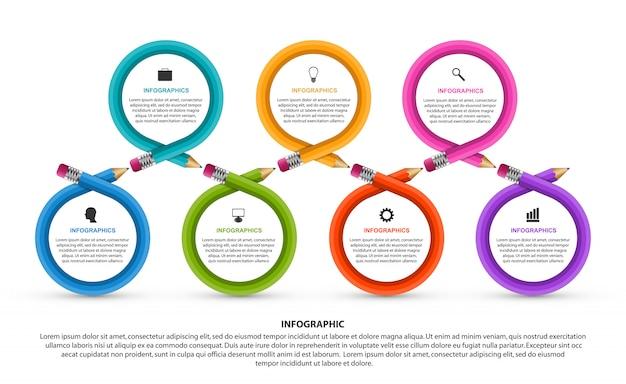 Infográfico educacional com sete etapas e lápis coloridos.