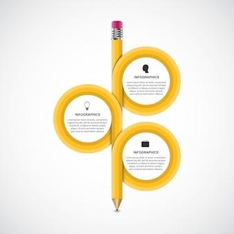 Infográfico educacional de lápis curvo com três opções