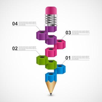 Infográfico educacional do lápis para a apresentação e folhetos.