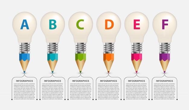Infográfico educacional, lápis com uma lâmpada na parte superior.