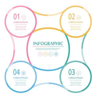 Infográfico elegante com elementos coloridos de linhas finas