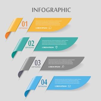 Infográfico elegante com elementos de banner brilhante