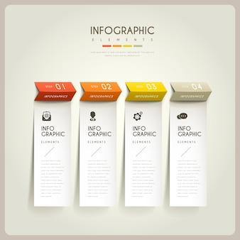 Infográfico elegante com elementos de papel dobráveis Vetor Premium