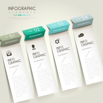 Infográfico elegante com elementos de papel dobráveis
