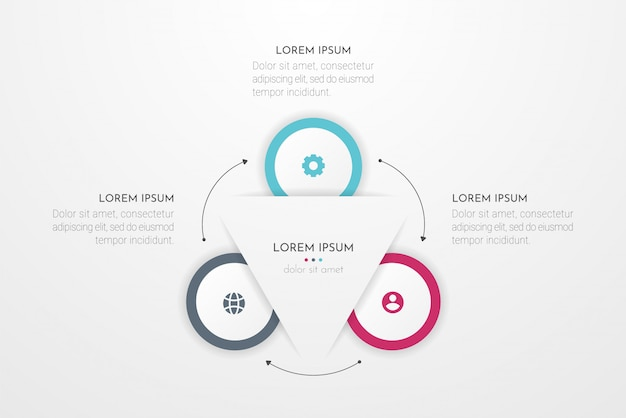 Infográfico elementos de design para seus dados de negócios com três opções de círculo, partes, etapas, cronogramas ou processos. ilustração.
