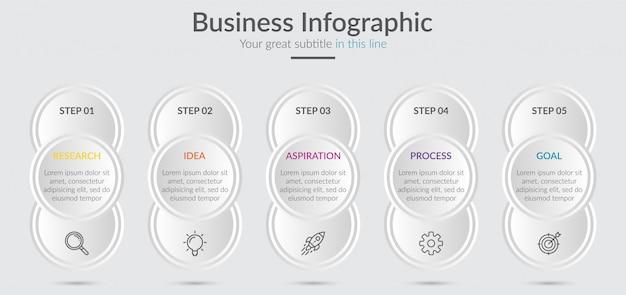 Infográfico elementos para o conteúdo com ícones e opções ou etapas.