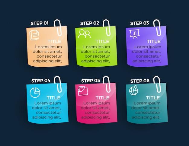Infográfico empresarial moderno com 6 opções