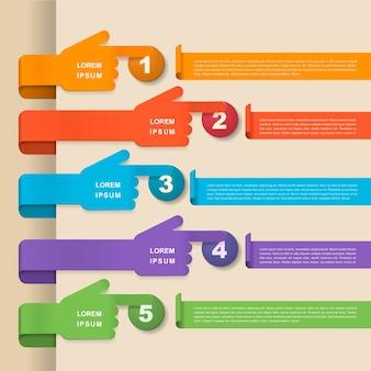 Infográfico engraçado com elementos de formato de mão