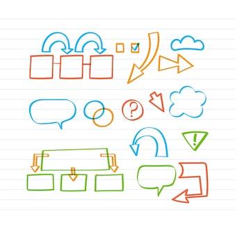 Infográfico escolar com elementos desenhados com marcador