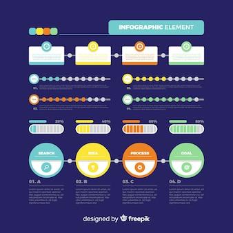 Infográfico escuro modelo em design plano