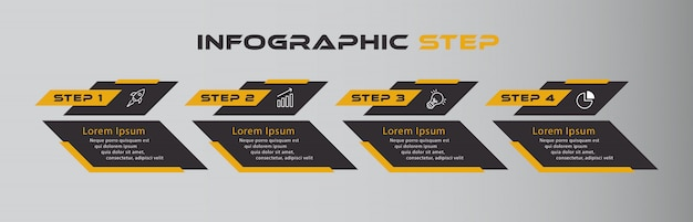 Infográfico escuro preto laranja com quatro etapas