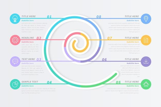 Infográfico espiral em tons pastel