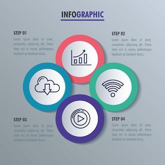 Infográfico estatístico com conjunto de ícones