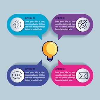 Infográfico estatístico com lâmpada e ícones