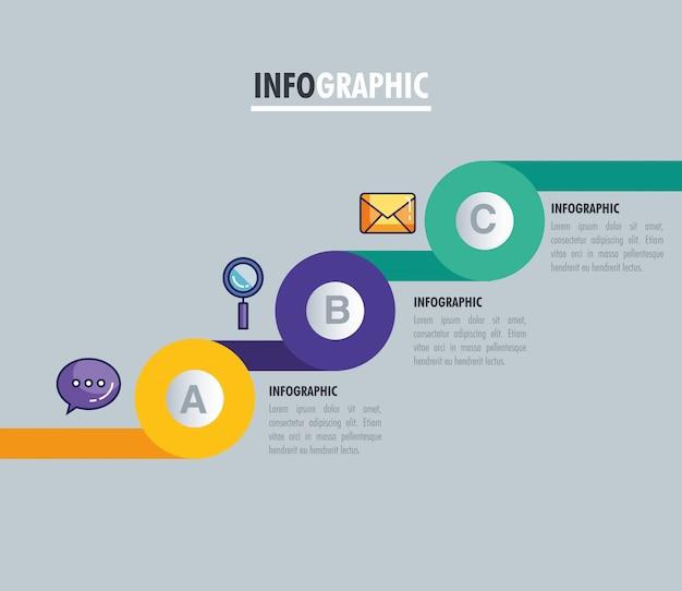 Infográfico estatístico com letras e ícones de negócios