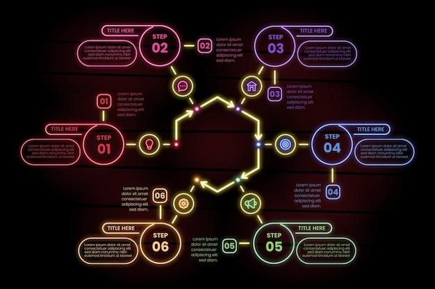 Infográfico etapas no estilo neon
