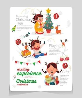 Infográfico experiência emocionante durante a celebração do cristmas com ilustração de uma linda garota