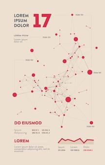 Infográfico futurista. estética da informação. visualização gráfica de threads de dados complexos. gráfico abstrato de dados.