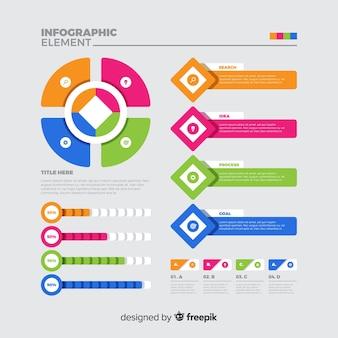 Infográfico geométrico modelo em design plano