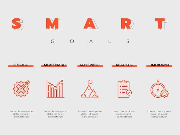 Infográfico geral moderno de metas inteligentes